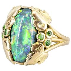 LOUIS COMFORT TIFFANY & CO. Black Opal Emerald Gold Ring