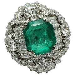 5 Carat Emerald Diamond Platinum Ring