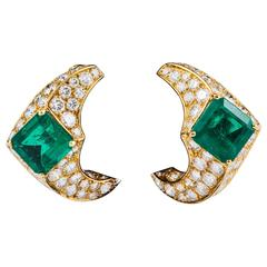 Emerald Diamond Gold Earrings