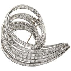 Platinum Baguette Diamond Scroll Brooch