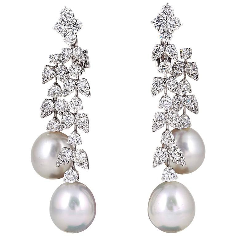 Fabulous Pearl Diamond Gold Dangle Drop Earrings For