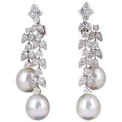 Fabulous Pearl Diamond Gold Dangle Drop Earrings