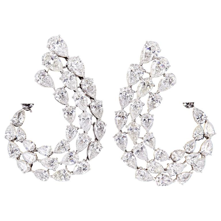 Diamond Scene Stunning Pear Shaped Diamond Gold Swirl Earrings