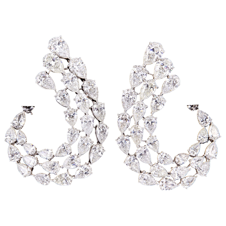 Diamond Scene Stunning Pear Shaped Diamond Gold Swirl Earrings