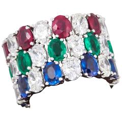 Set of Oval Sapphire Ruby Emerald Diamond Eternity Band Rings