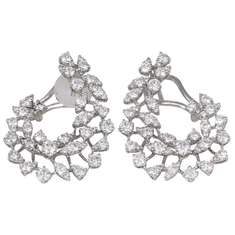 Diamond Scene 3.91 Carat Diamonds Gold Swirl Hoop Earrings For Sale