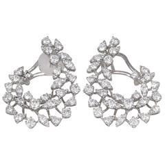 Diamond Scene 3.91 Carats Diamonds Gold Swirl Hoop Earrings