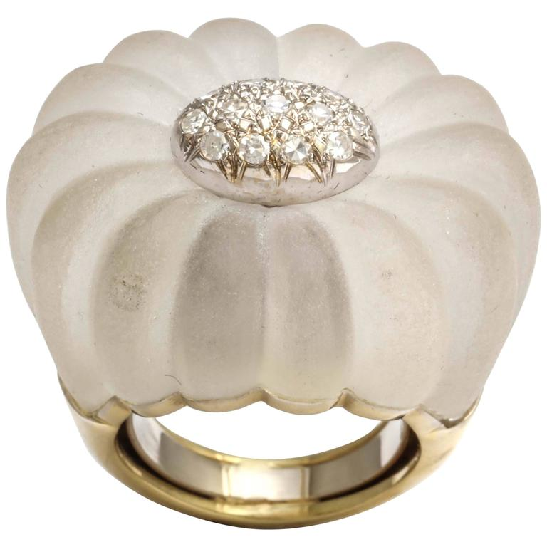 Frosted Rock Crystal Diamond Rosette Gold Ring For Sale
