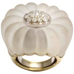Frosted Rock Crystal Diamond Rosette Gold Ring