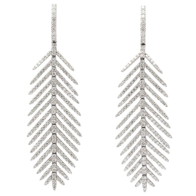 Diamond Gold Feather Earrings