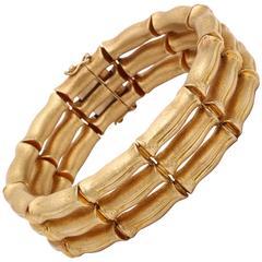 Classic brushed finish Gold Bamboo Bracelet