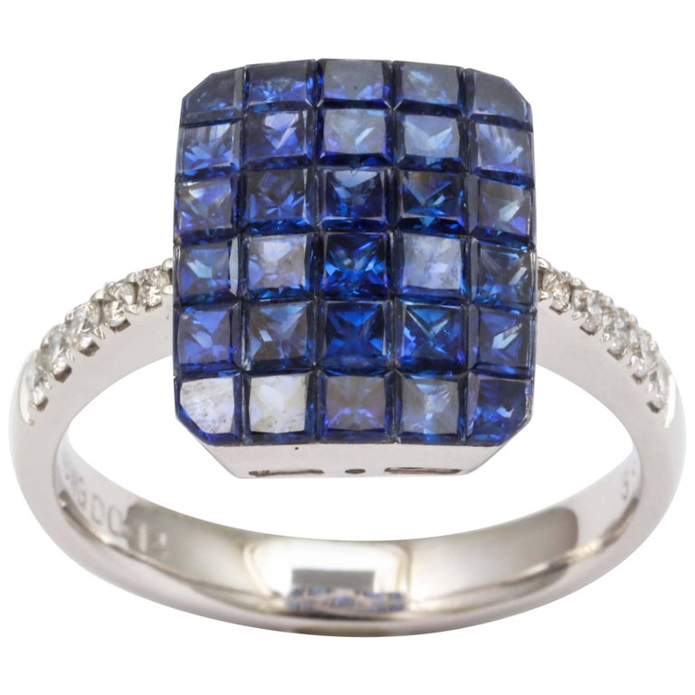Invisible Set Sapphire and Diamond Ring For Sale
