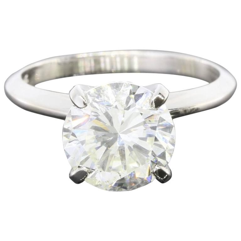 3.08 Carat Round Diamond Gold GIA Certified Solitaire Engagement Ring For Sale
