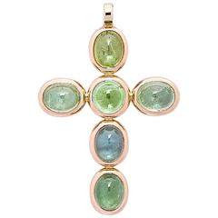 Colleen B. Rosenblat Tourmaline Gold Cross Pendant
