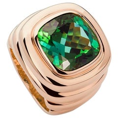 Colleen B. Rosenblat Green Tourmaline Gold Ring