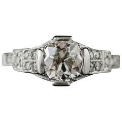 1920s 1.25 Carat Mine Cut Diamond Platinum Engagement Ring