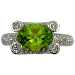 Peridot Diamond Gold Ring