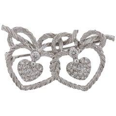 Buccellati Diamond Gold Double Heart Brooch Pin