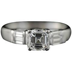 1.02 Carat GIA Certified Asscher Diamond Platinum Engagement Ring