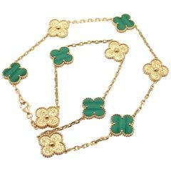 Van Cleef & Arpels Limited Edition Vintage Alhambra Malachite Gold Necklace