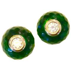 Green Topaz White Sapphire Gold Stud Earrings