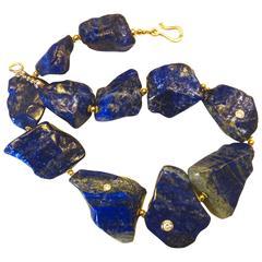 Lapis Lazuli White Zircon Nugget Necklace