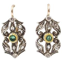 Edwardian Emerald Diamond Red Gold Earrings