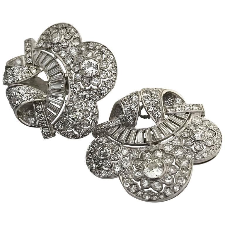 Art Deco Diamond Platinum Cloud Earclips