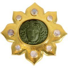 Elizabeth Locke Large Medusa Lava Cameo Gold Pendant Brooch