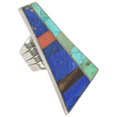 HUGE Inlaid Stones Silver Ring