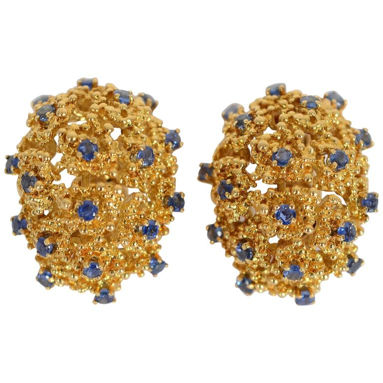 Tiffany & Co. Sapphire Gold Earrings For Sale