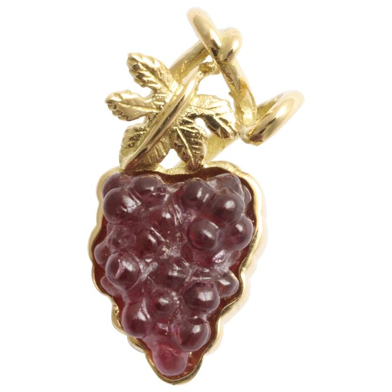 Tourmaline Gold Cluster of Grapes Lapel Pin