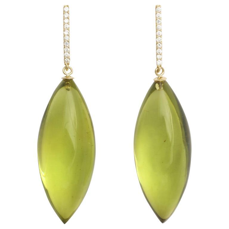 Amber Diamond Gold Drop Earrings