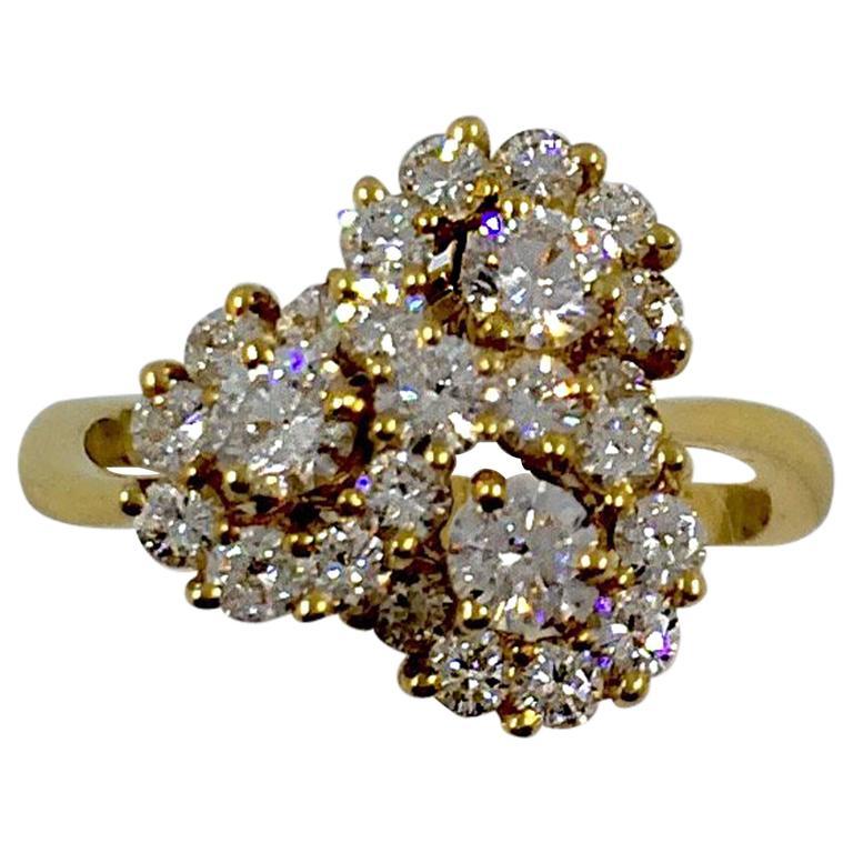Diamond Gold Swirl Ring