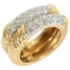 Van Cleef & Arpels Double Band Gold Diamond Ring