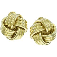 Tiffany & Co. Three Dimensional Gold Love Knot Ear Clips