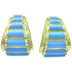 Dramatic David Webb Enamel Gold Ear Clips