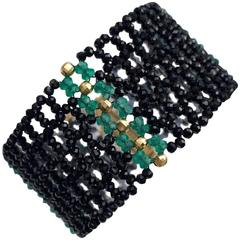 Woven Multi-Strand Faceted Bead Black Spinel Emerald Bracelet