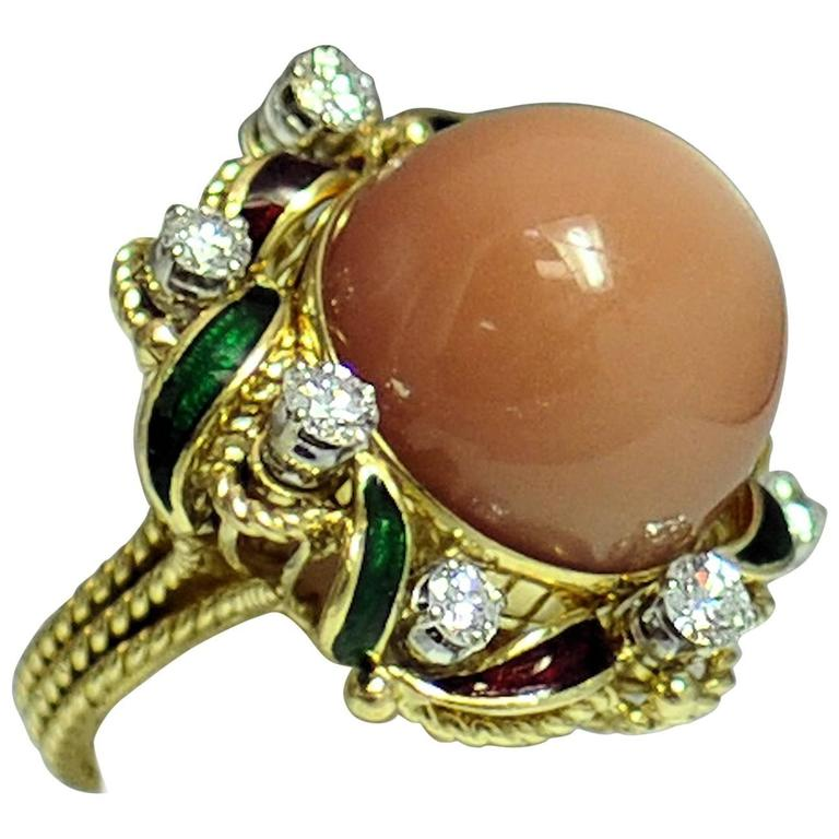 Italian Diamond Enamel  Peach Moonstone Ring