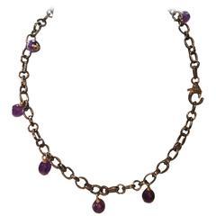 Steel, 18K Amethyst Drop Necklace
