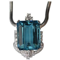 Beautiful aquamarine diamonds platinum pendant white gold necklace