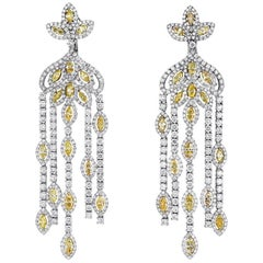 Hanging Diamond Earrings Fancy Yellow and White Diamonds