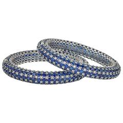 Stackable Blue Sapphire Diamond Gold Bracelets