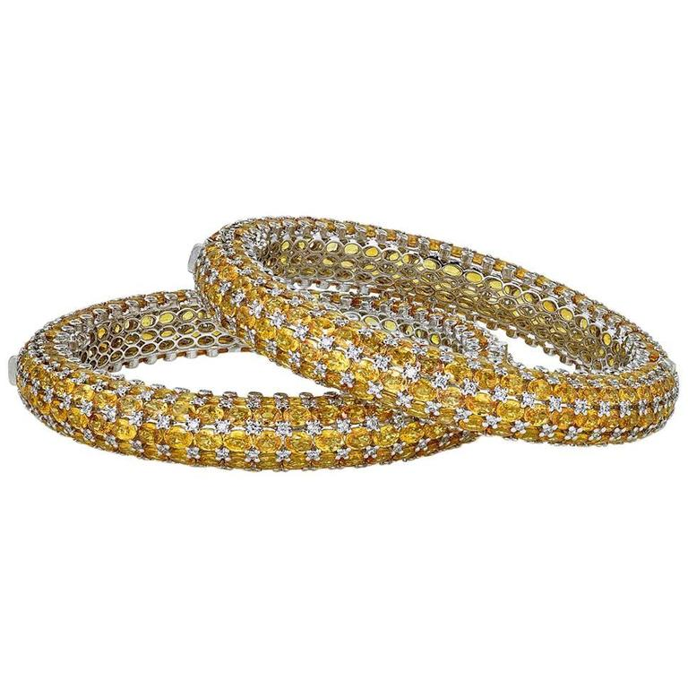 Yellow Sapphire Diamond Gold Stackable Bangles For Sale