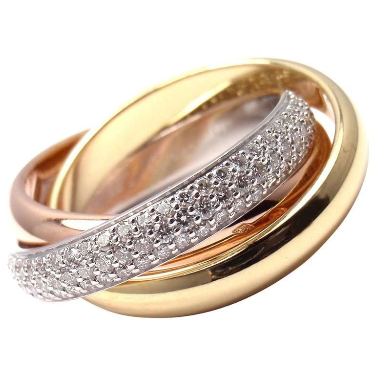 Cartier Trinity Pave Diamond Tricolor Gold Band Ring