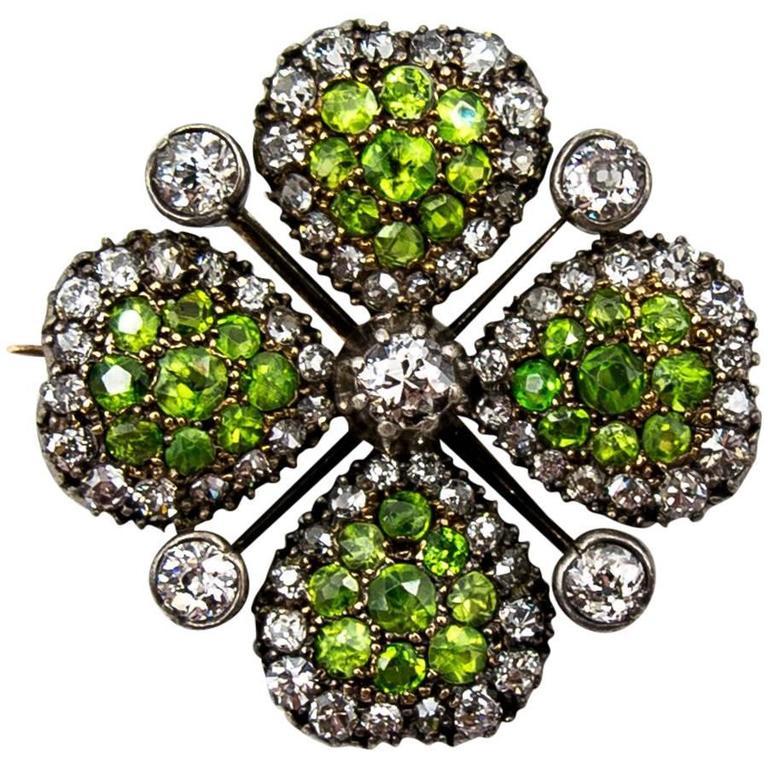 Victorian Demantoid Garnet and Diamond Four Leaf Clover Pin