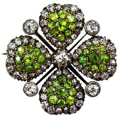 Victorian Demantoid Garnet and Diamond Four Leaf Clover Pin