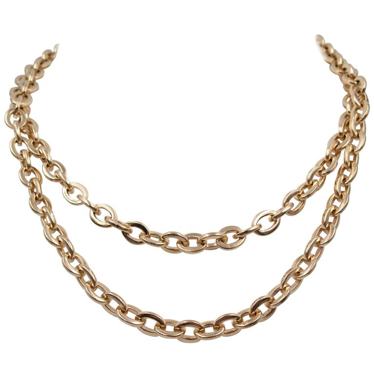 Rose Gold Nautical Link Wrap-around Necklace For Sale