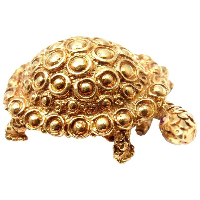 Tiffany & Co. Ruby Gold Turtle Brooch Pin For Sale
