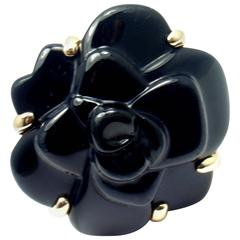 Chanel Camelia Large Black Agate Flower Gold Ring